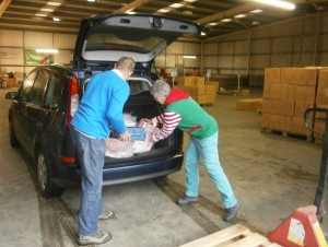 The boxes being unloaded at the warehouse
